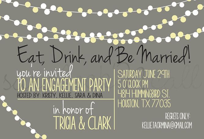 Wedding Engagement Party Invitation, Eat Drink And Be Married, String Lights, Printable, Customizable by SaraBeckNCall on Etsy https://www.etsy.com/listing/211745064/wedding-engagement-party-invitation-eat