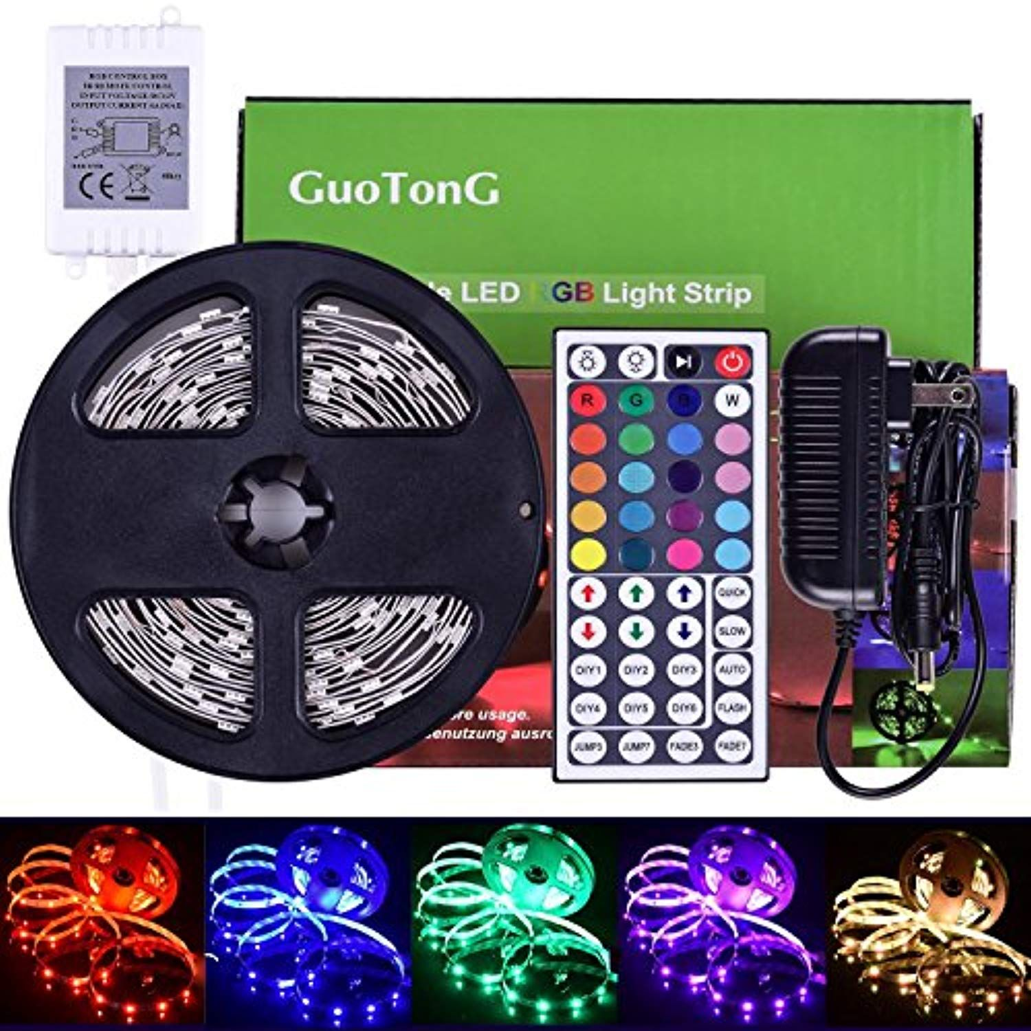 Guotong 16 4ft 5m Led Strip Light Kit 150 Units Rgb 5050 Leds Color Changing Non Waterproof 12v Dc Li Led Strip Lighting Strip Lighting Rgb Led Strip Lights