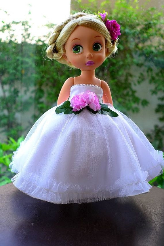 flower princess dress (white) doll clothes for Disney animator doll ...