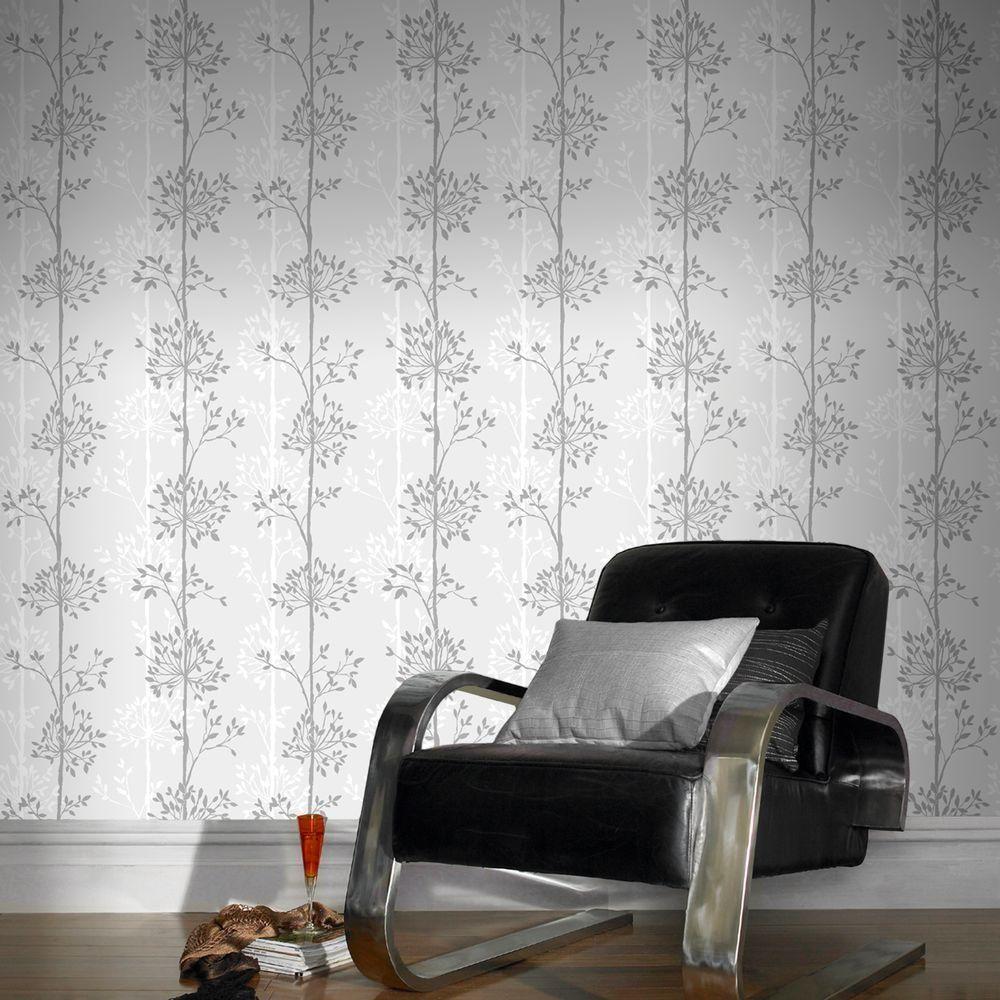 Domaniale Paillette Wallpaper Blanc Mica Gris Brown Wallpapers