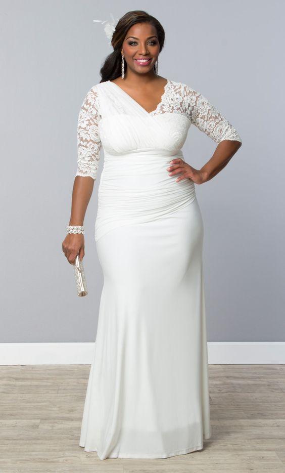 vestido fiesta blanco largo con detalles en encaje (xl)   vestodos