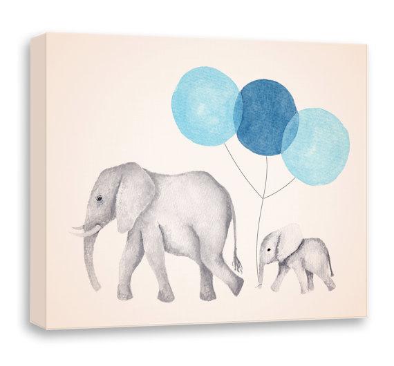 Elephant Painting Canvas Nursery Art Navy Blue And Gray Decor Watercolor Print Artwork Kids Wall On Etsy 35 00