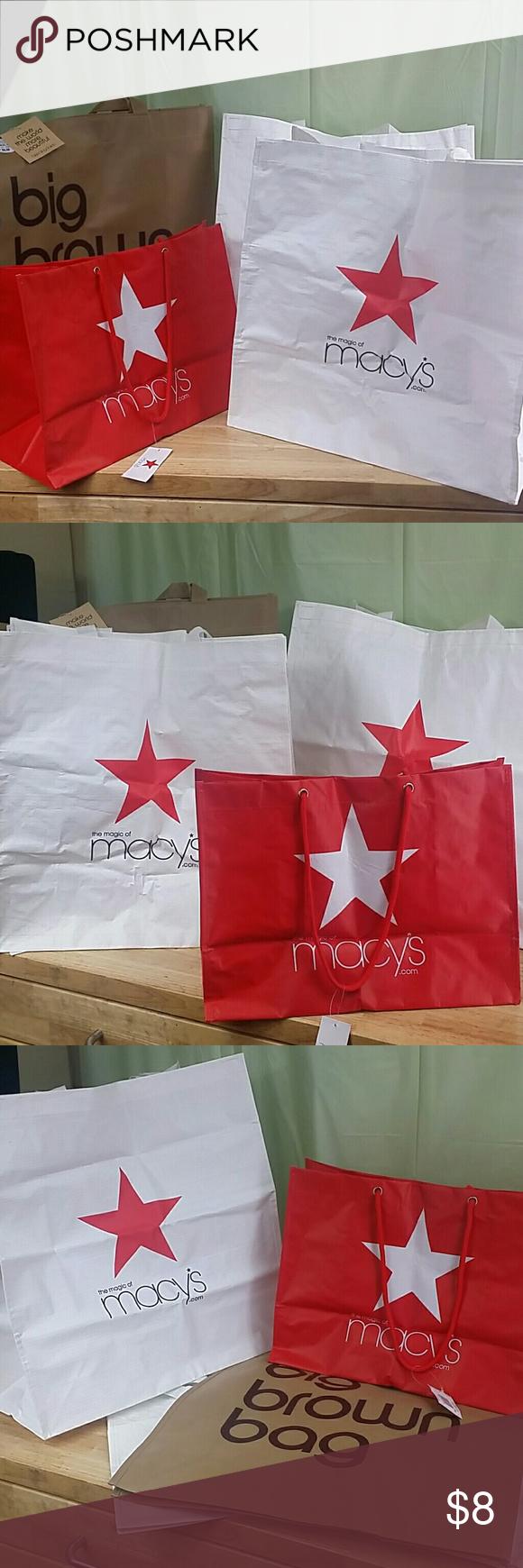 macy s reusable shopping bags big brown bag nwt my posh closet