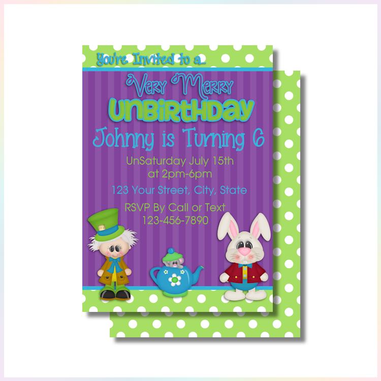 Personalized Printable Invitations | Happy Unbirthday | Birthday