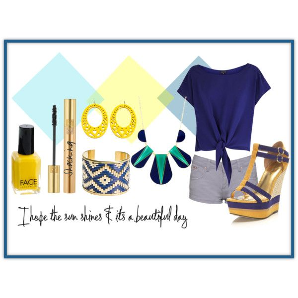 |12| Blue with a touch of bright yellow by haydeeantonio on Polyvore featuring Warehouse, Miss Selfridge, Zad, Yves Saint Laurent and J.Crew
