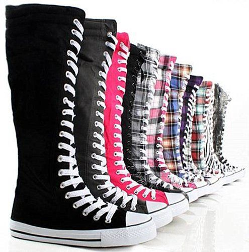 3a800ba3db6 Women s Tall Canvas Lace Up Knee High Sneakers     Find out more about the  great product at the image link.