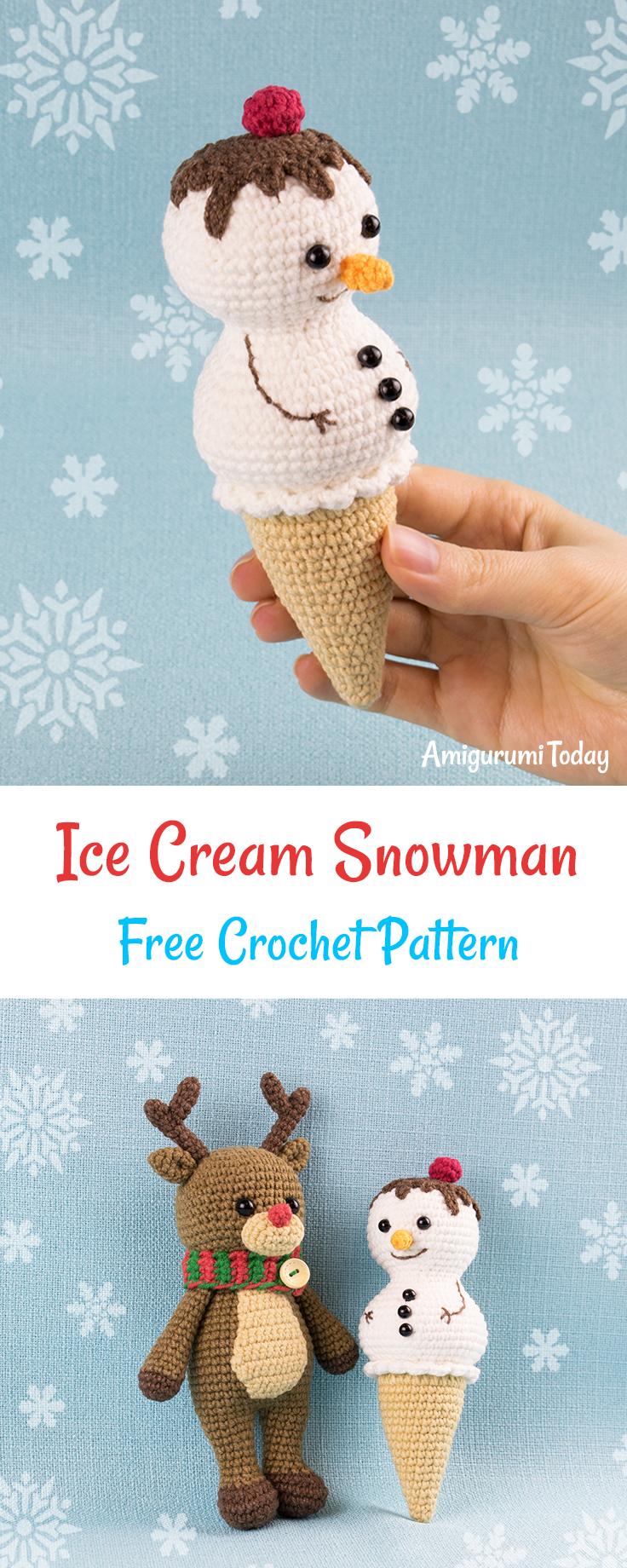 Ice Cream Snowman Crochet Pattern Häkeln Häkelideen Und Handarbeiten