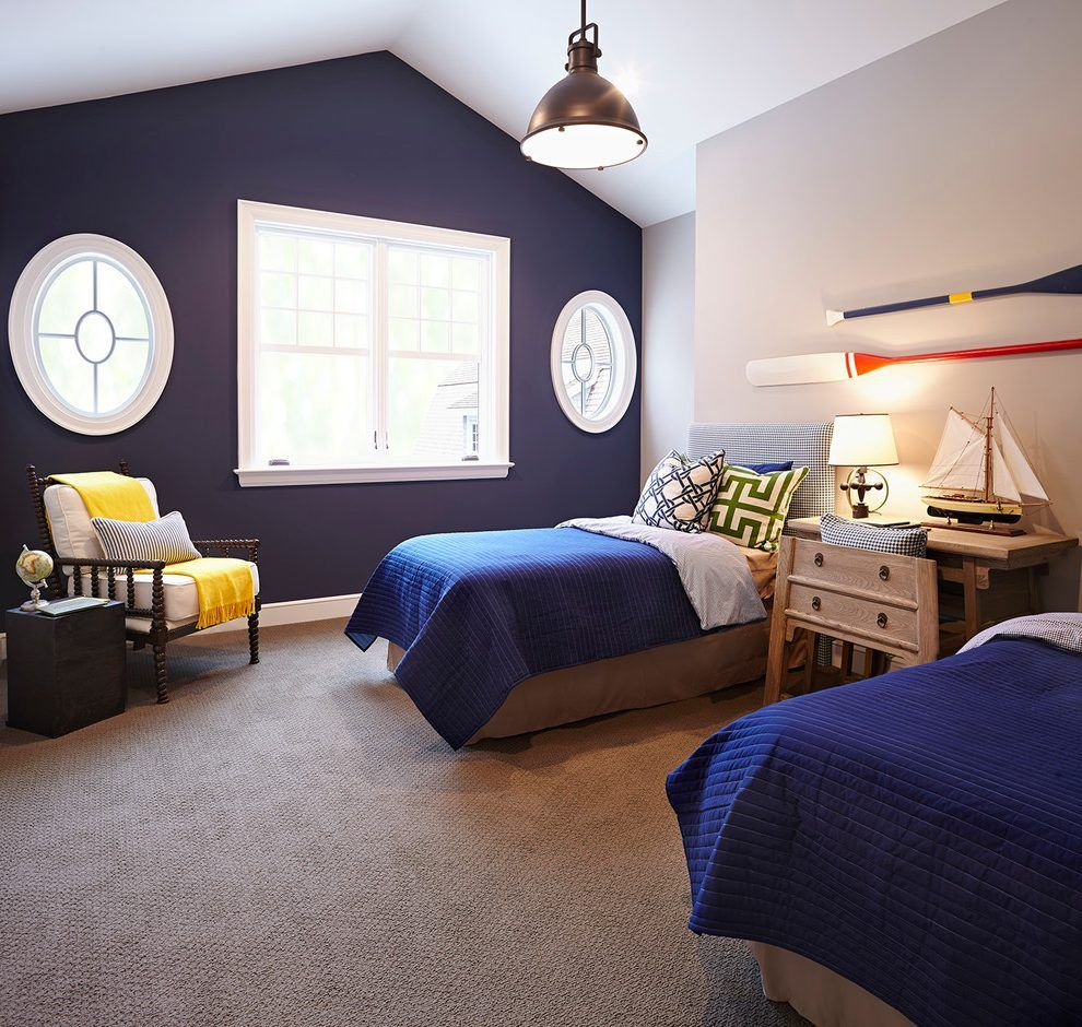Painting Accent Wall Cape Bedroom: Extraordinary Navy Accent Wall Amazing Ideas With Window