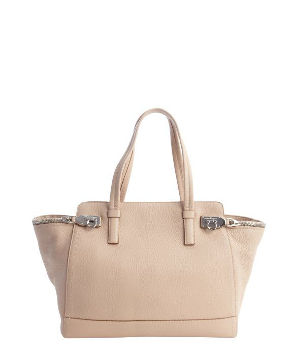 Salvatore Ferragamo bisque leather  Verve  zip side top handle bag ... 700608ad102b1