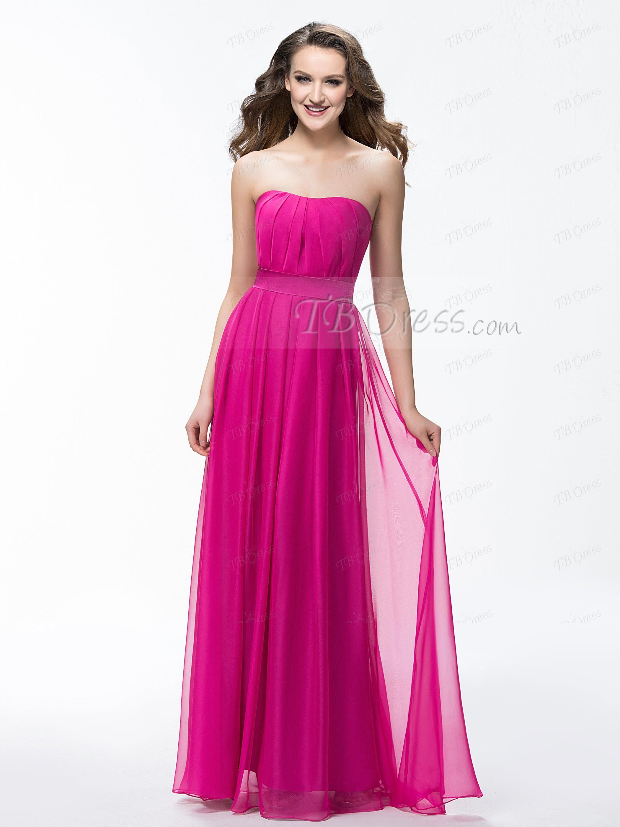 Strapless A Line Floor Length Ruffles Sash Bridesmaid Dress ...