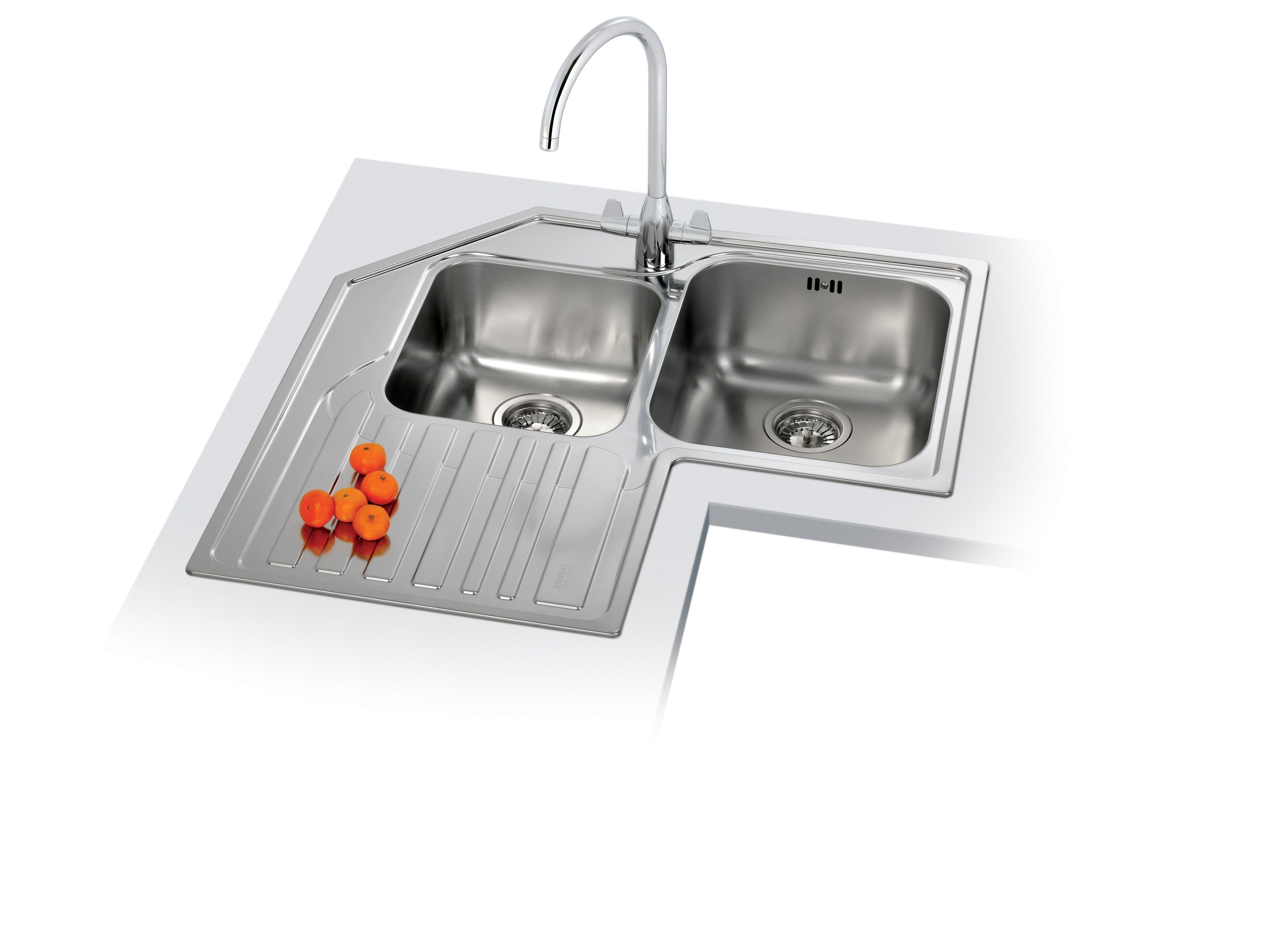 trendy stainless steel double corner kitchen sink with chrome arch faucet design with white background image. Interior Design Ideas. Home Design Ideas