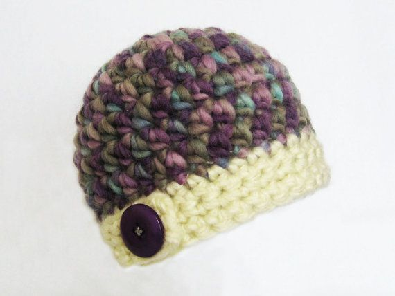 CROCHET PATTERN Bulky Button Flap Beanie 7 by YarnBlossomBoutique