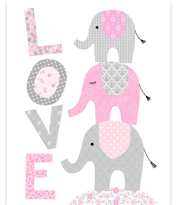 Elephant Nursery, Love Print, Elephants Stacked, Baby Girl Decor, Girl Room Wall Art, Elephant Wall Art, Pink and Grey, Baby Room Art Print #mygirl