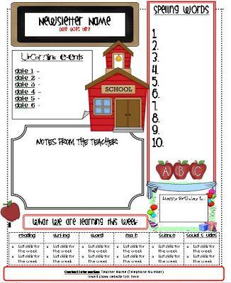 second grade newsletter template lexington one literacy 4th grade