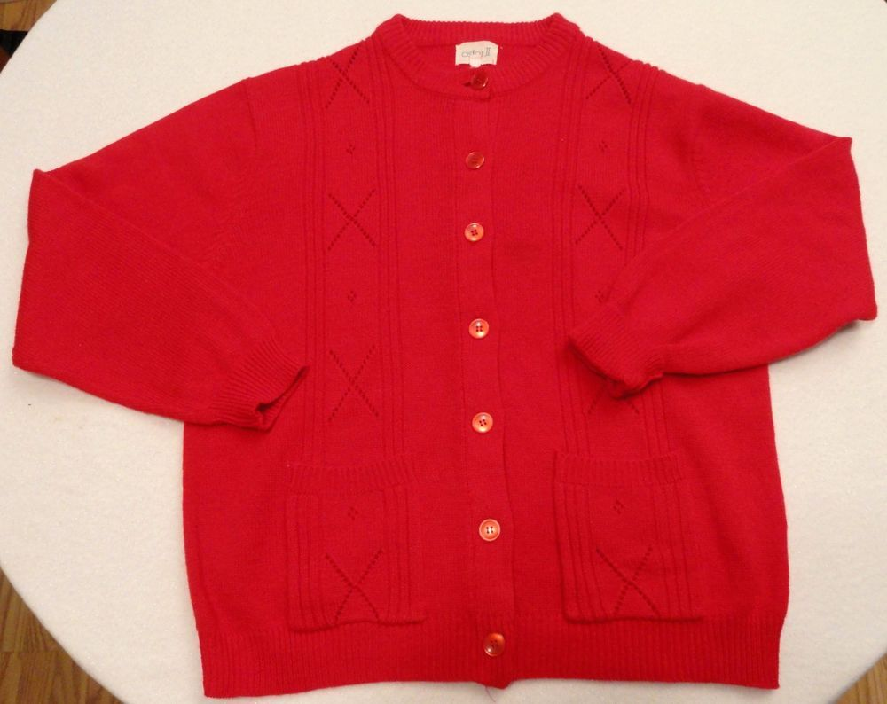 Astor ll Women's Sz 42 Bright Red Knit Cardigan Sweater with 2 ...