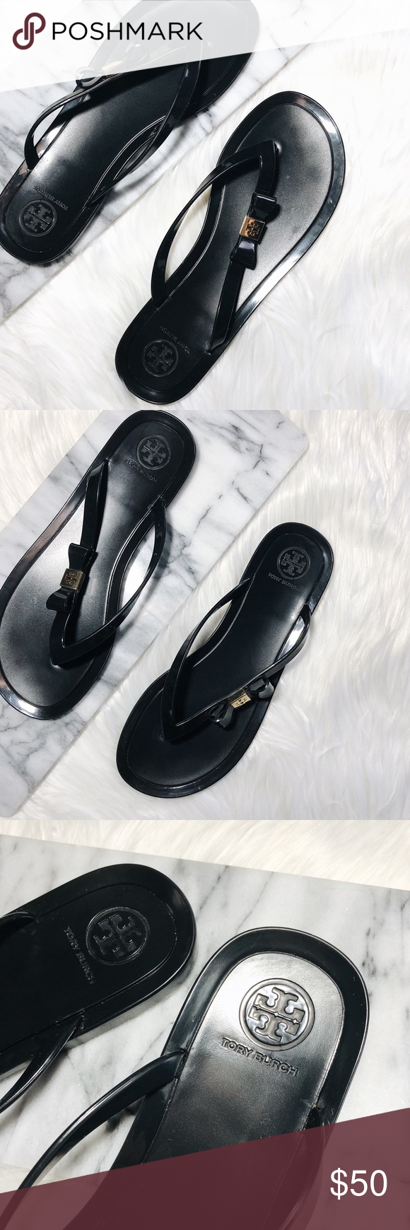 ececf81d8e05fb Tory Burch Michaela Bow Jelly Flip Flop Black Tory Burch Michaela Bow Jelly  flip flops in