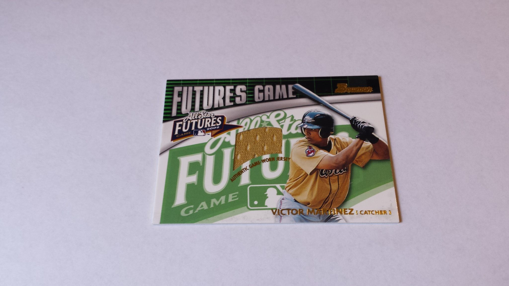 2003 Bowman Futures Game Gear Jersey Relics Victor Martinez single jersey baseball card