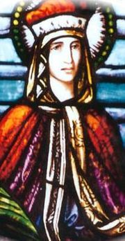 Saint Ludmila (c. 860 – 15 September 921) is a Czech saint and martyr venerated by the Orthodox and the Roman Catholics. She was born in Mělník as daughter of a Slavic prince Slavibor. Saint Ludmila was the grandmother of Saint Wenceslaus, who is widely referred to as Good King Wenceslaus. She is considered to be a patron saint of Bohemia, converts, Czech Republic, duchesses, problems with in-laws, and widows.