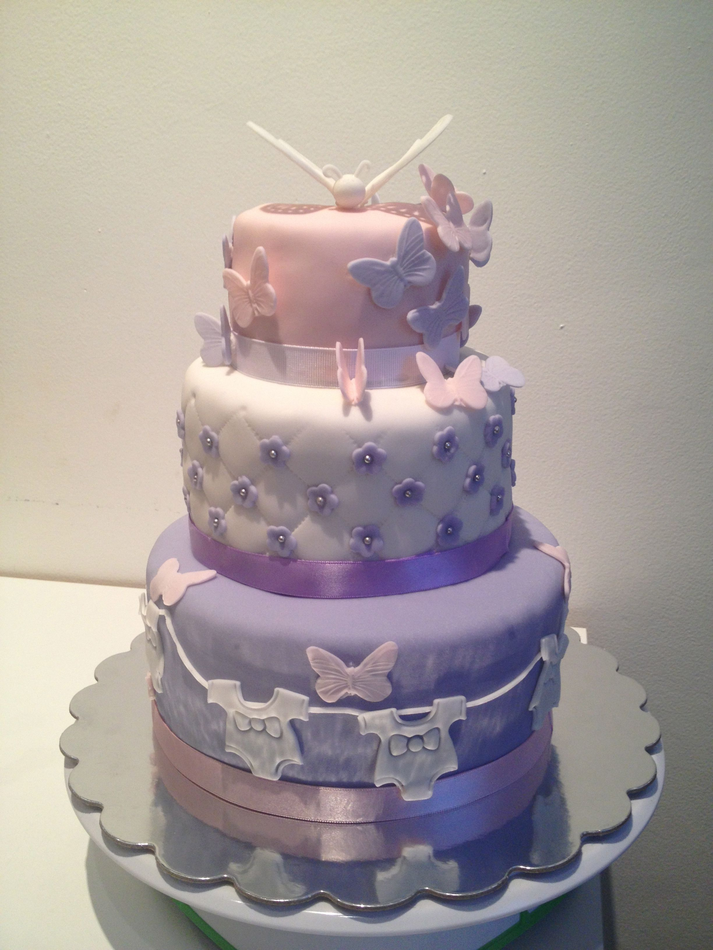 Lavender Butterflies Baby Shower Cakes Girl Butterfly Baby