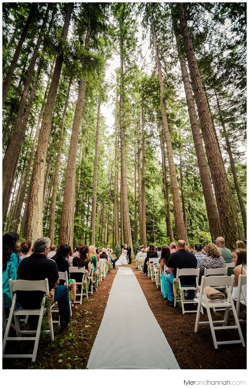Rustic Wedding Ceremony In The Woods At Kitsap Memorial State Park Tylerandhannah