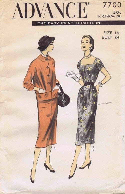 1950s Misses Sheath Dress Box Jacket Advance 7700 Vintage Sewing Pattern Size 16 Bust 34 Vintage Clothes Patterns Vintage Sewing Patterns Jacket Dress