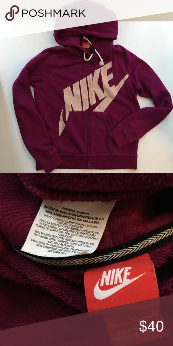 e47e44b08405 Nike Hoodie Nike Hoodie Worn a few times Excellent condition Size Medium  Raspberry color Nike Tops