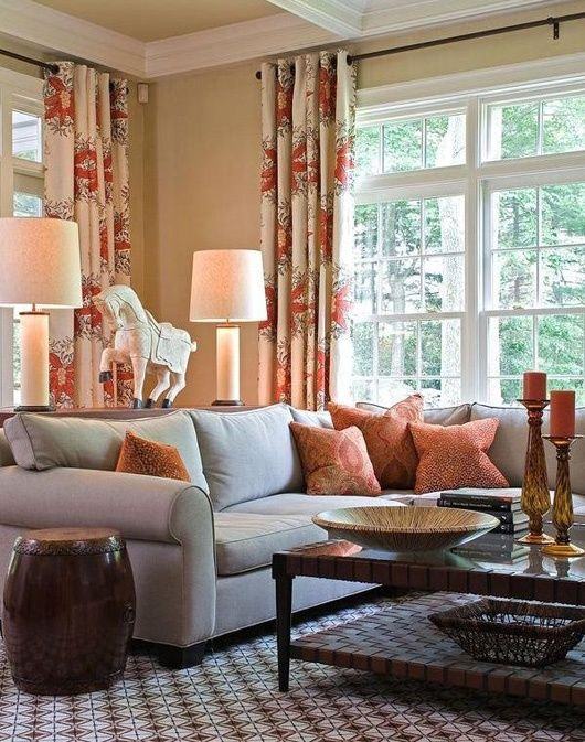 Cream living room with bluegray rich brown and rust red