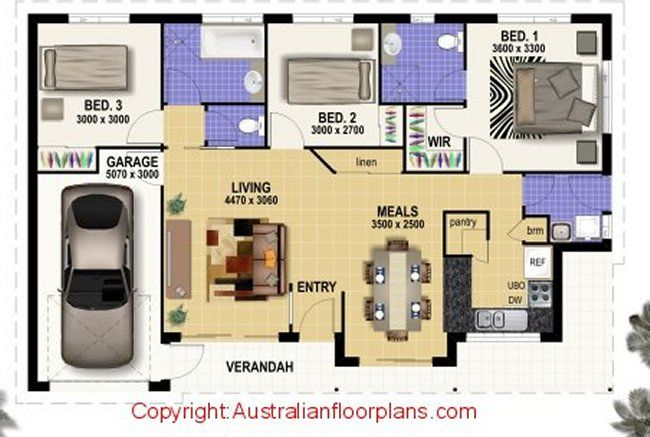 3 Bed Room Home Great Plan Bedroom Home Designs