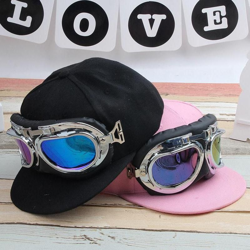 ff8960c0ed4 2017 Fashion Children Hip Hop Baseball Cap Summer kid Sun Hat Cartoon Large  glasses pilot Boys Girls snapback Caps 2-8 years old.