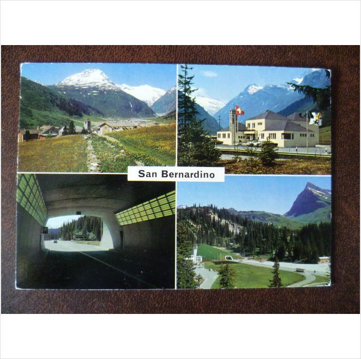 Switzerland San Bernardino 1970s multi view colour postcard road tunnel mountains