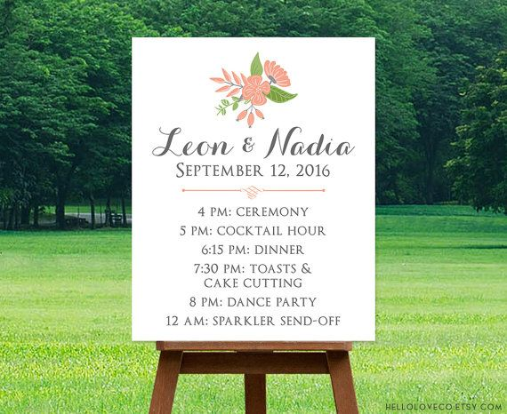 editable wedding schedule sign template custom wedding itinerary