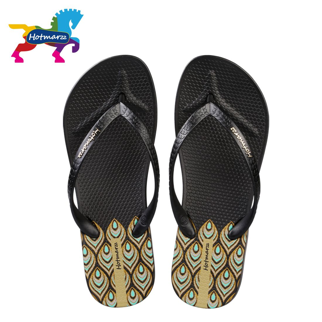 Unisex Non-slip Flip Flops Elephant Head With Flowers Cool Beach Slippers Sandal
