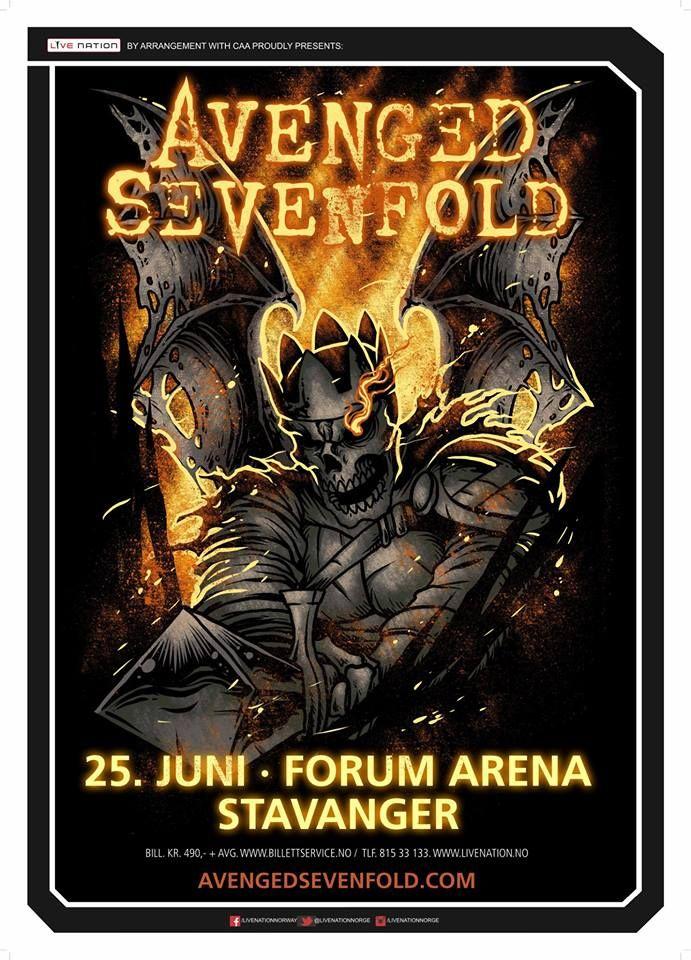 El 25 De Junio Avenged Sevenfold Vuelve A Noruega Groupe Rock