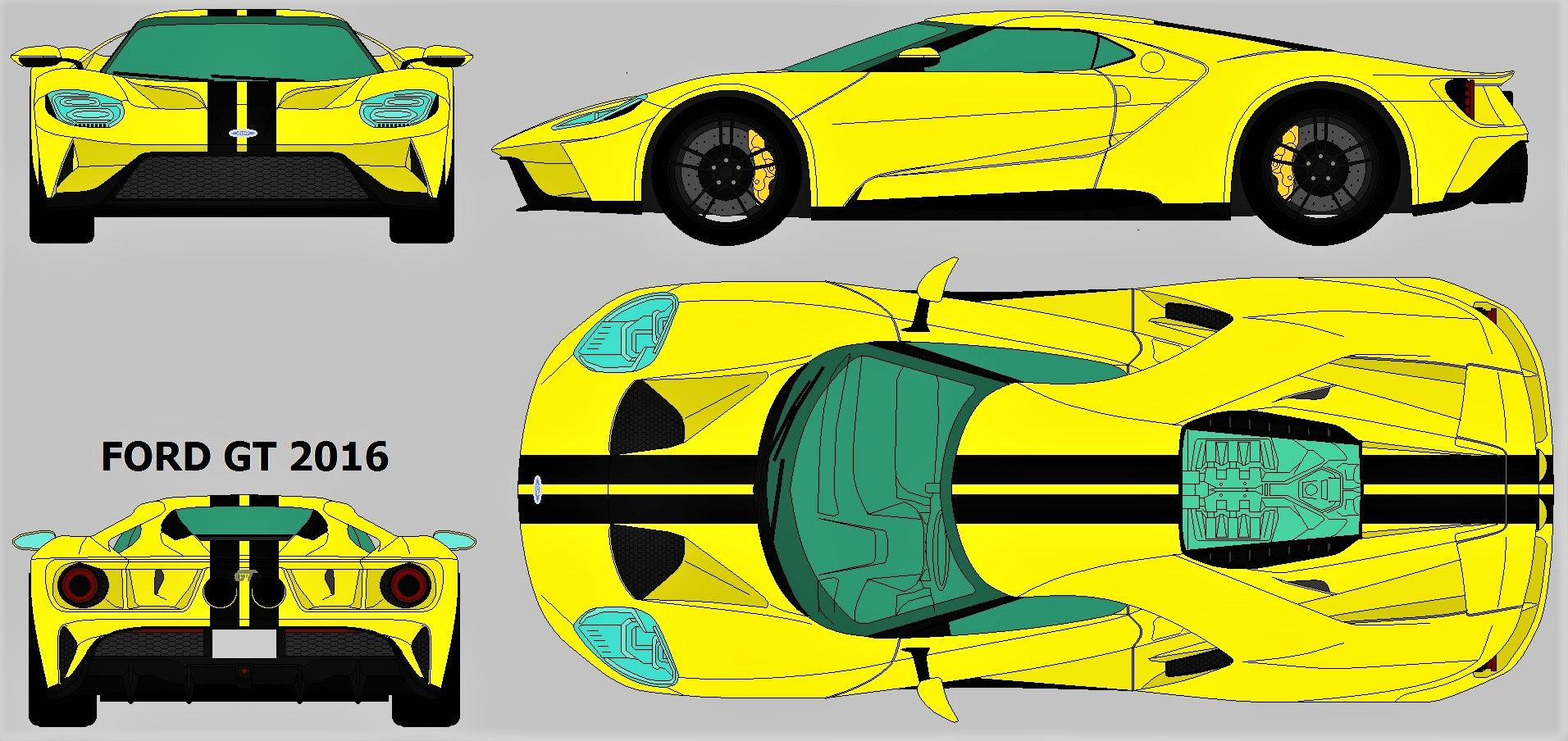 Ford Gt  Blueprint