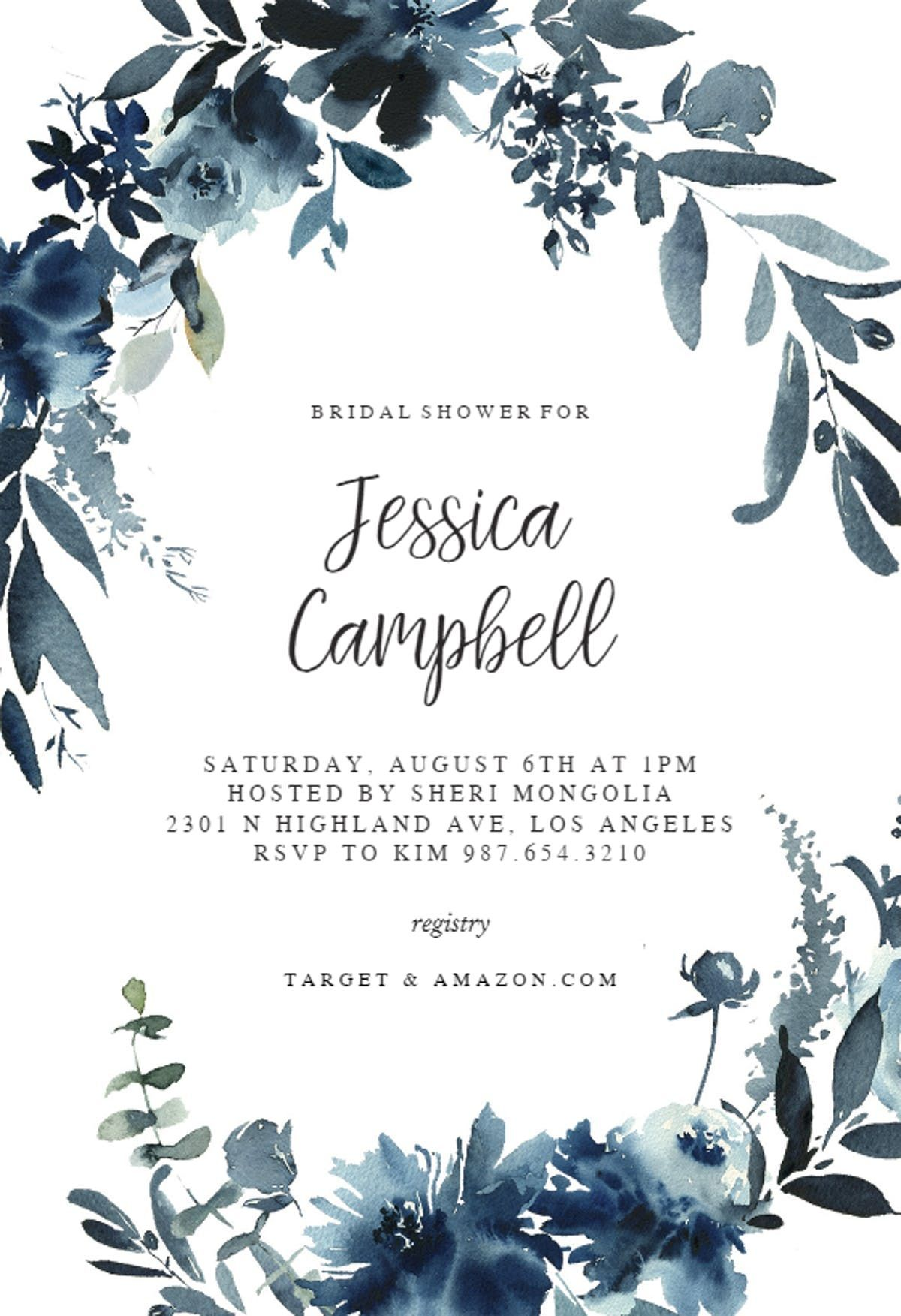 Floral Watercolor Wedding Invitations Gray And Dusty Blue Wedding Color Flower Wedding Invitation Housewarming Invitation Templates Square Wedding Invitations