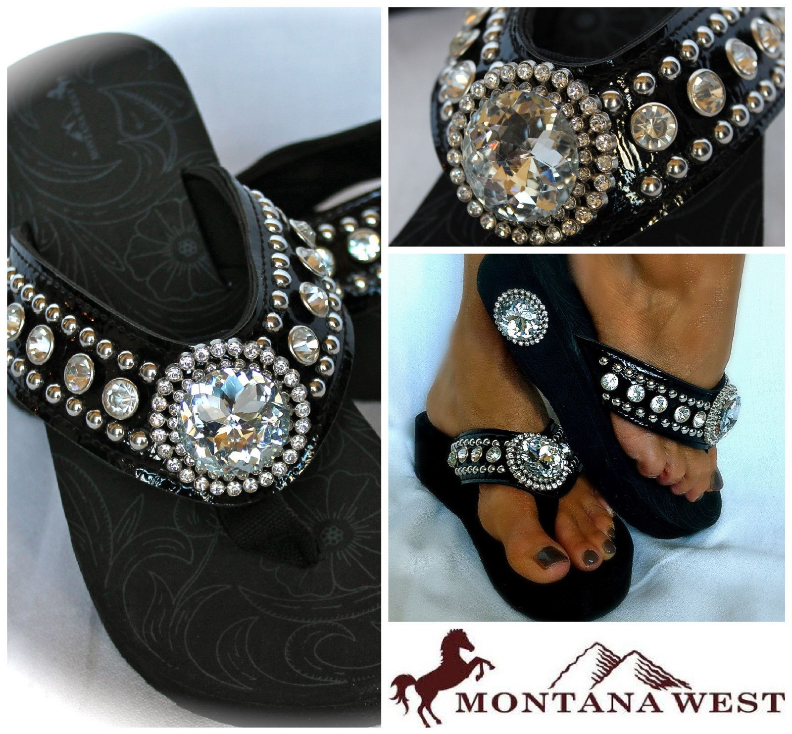 ea0158f4c6857c Montana West New Style Western Bling Flip Flop Wedge Jeweled Black All  Sizes