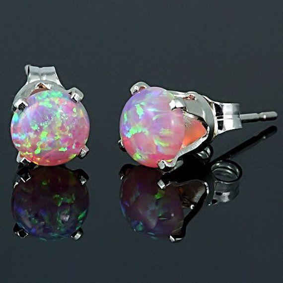 Small Oval Australian Opal  Sterling Silver 925 Stud Earrings 3 x 5  mm