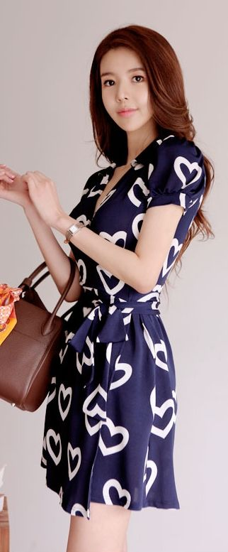 Luxe Asian Korean Fashion Cool Heart Navy Dress