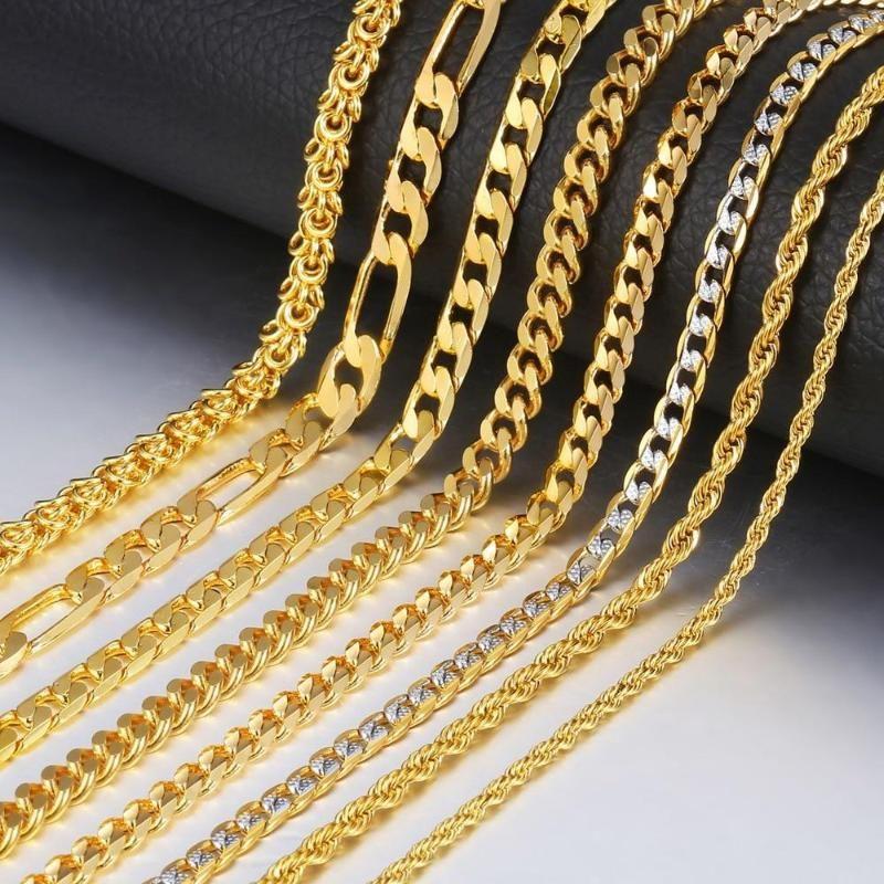 Golden Figaro Rope Cuban Necklace For Men Women Gold Necklace For Men Mens Chain Necklace Gold Chains For Men