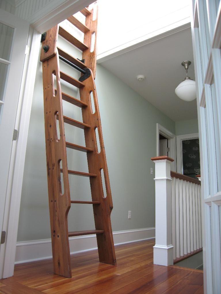 Antique Loft Ladder Hand Crafted Hybrid Loft Ship Ladder