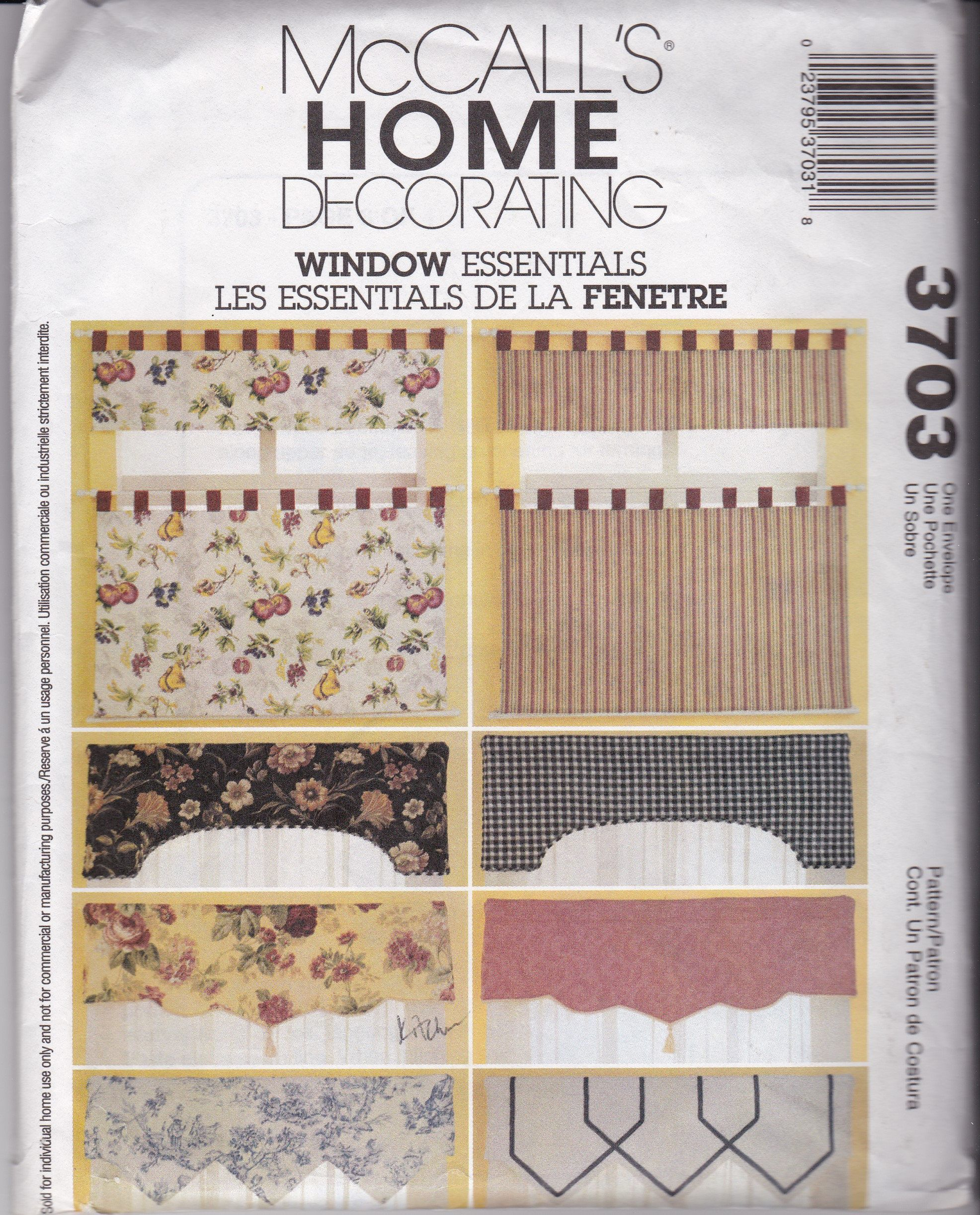 New Uncut Rare Mccalls 3703 A Home Decorating Window Essentials Pattern Reversible Valances And Cafe Curtains Fast And Easy Tab Tops With Images Cafe Curtains Mccalls Sewing Patterns Home Decor