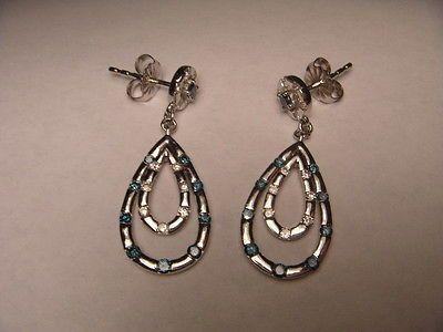 Stunning Estate 14K White Gold Blue Diamond Dangle Loop Teared Earrings