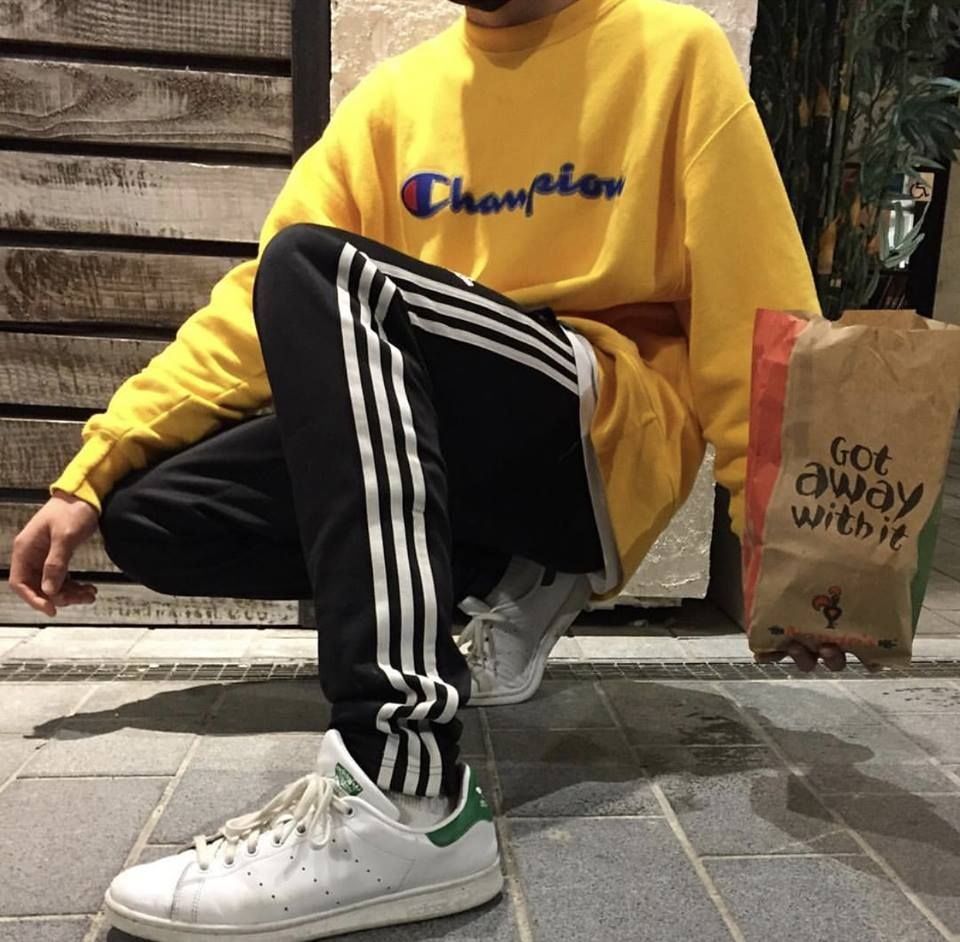 Champions Yellow Adidas Stansmith Champion Clothing Yellow Sweatshirt Outfit Mens Outfits [ 942 x 960 Pixel ]