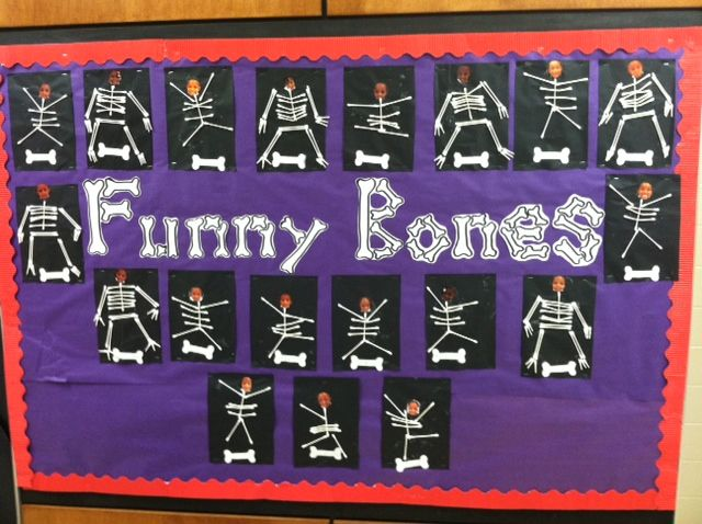 Skeletal System made from q-tips Bulletin Board in preschool and Pre-K (hospital theme or Halloween activity)