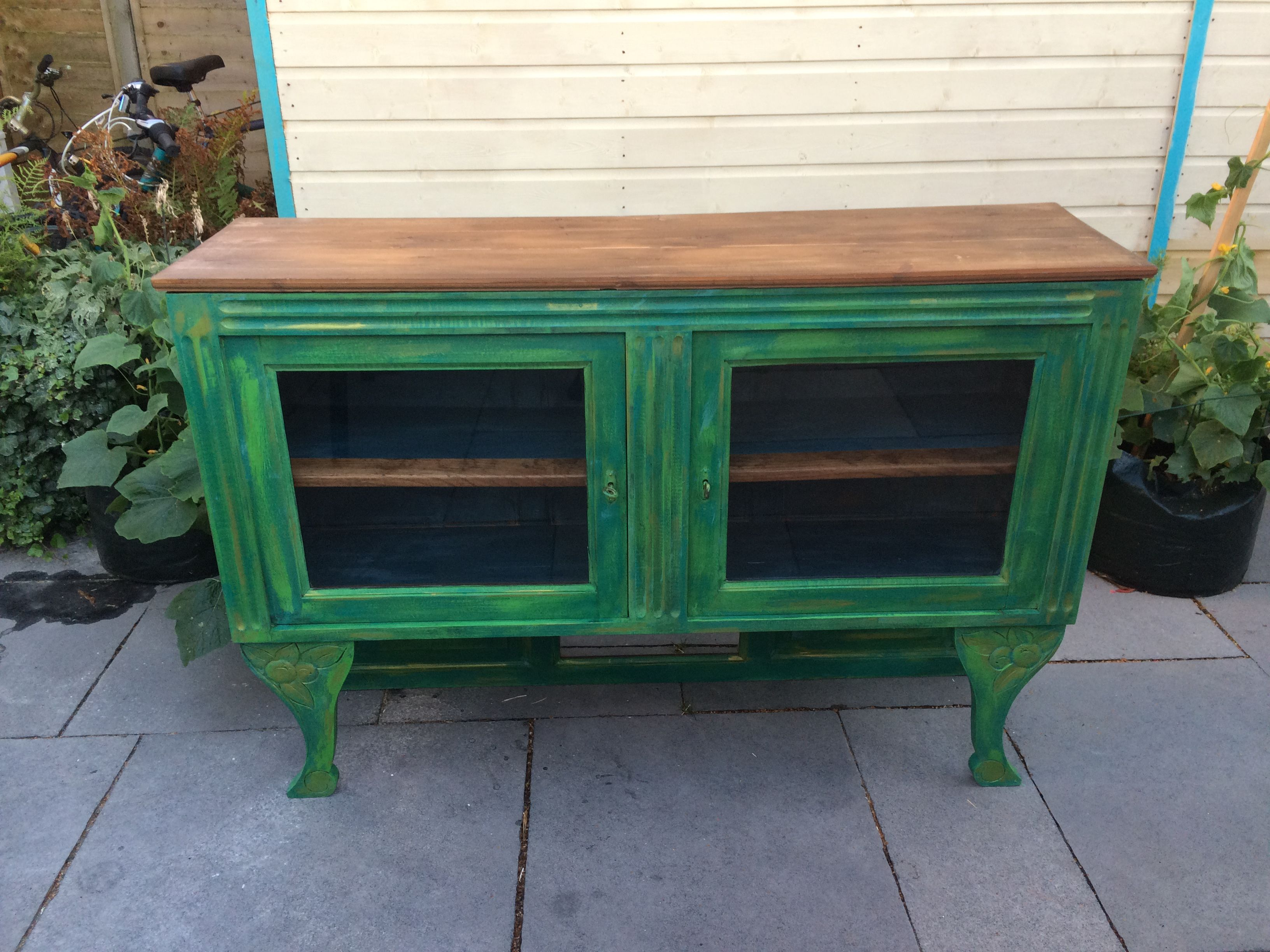 Antique French sideboard; painted Annie Sloane Antibes Green, Florence with green metallic wax and clear wax | refurbished by Ellie Pea Furniture - https://www.facebook.com/ElliePeaFurniture/