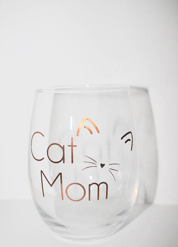 6d4fc80acdd Cat Mom Stemless 21 Ounce Wine Glass for sale