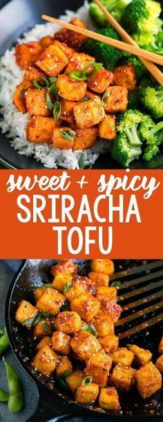 Süßer und würziger Sriracha-Tofu   - Dinner ideas - #Dinner #Ideas #SrirachaTofu #Süßer #und #würziger #pescatarianrecipes