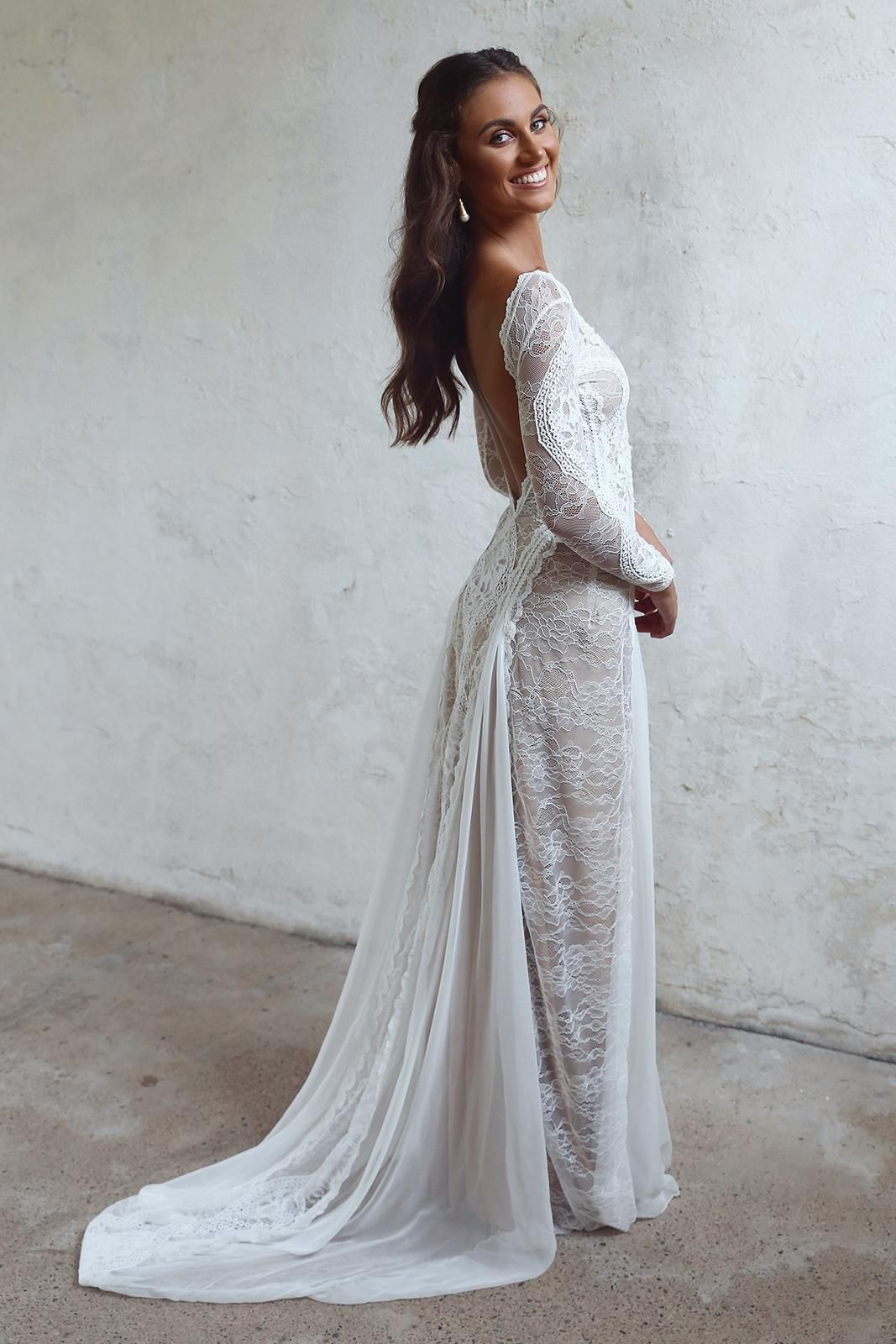 Inca Gown Low Back Wedding Dress Grace Loves Lace Bridal Dresses Lace Lace Applique Wedding Dress Wedding Dresses Lace