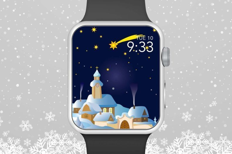 Apple Watch Wallpaper, Gingerbread Town On Snowy Hill With Stars In The Night Sky Apple Watch… - Modern