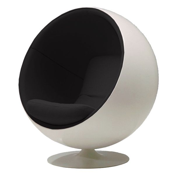The Ball Chair by Eero Aarnio was designed in 1963. The Ball Chair is made of fibreglass and upholstered with fabric and is available in many different colour combinations. Manufacturer: Adelta. Want/Black.